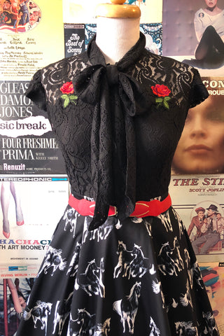 Black Lace Tie-Neck Top with Embroidered Rose by Jawbreaker
