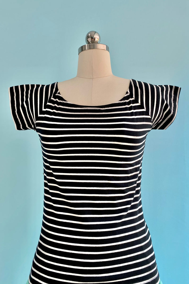 Black and White Striped Verity Top by Hell Bunny
