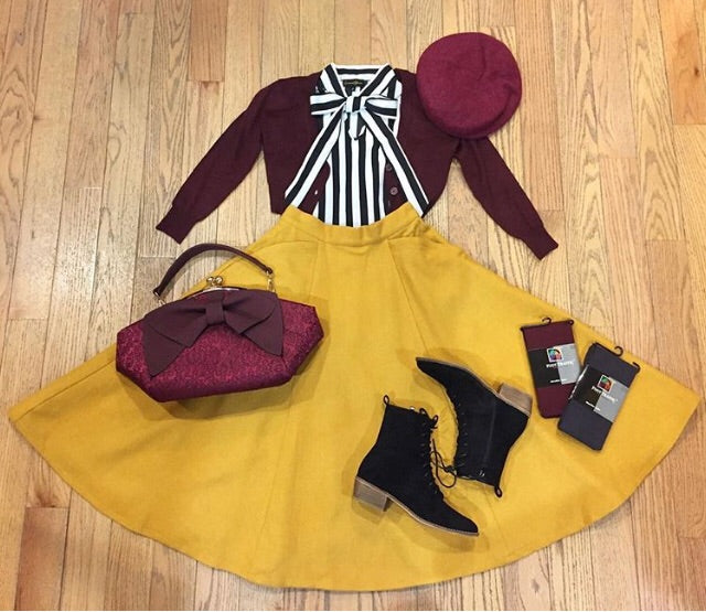Odette Skirt in Mustard Wool by Sheen Clothing