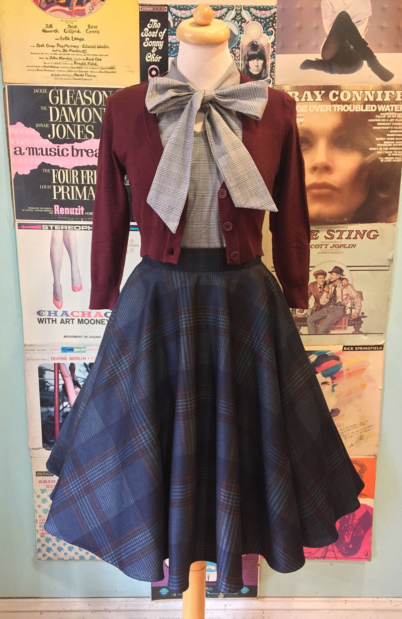 Circle Skirt in Navy & Maroon Plaid by Heart of Haute