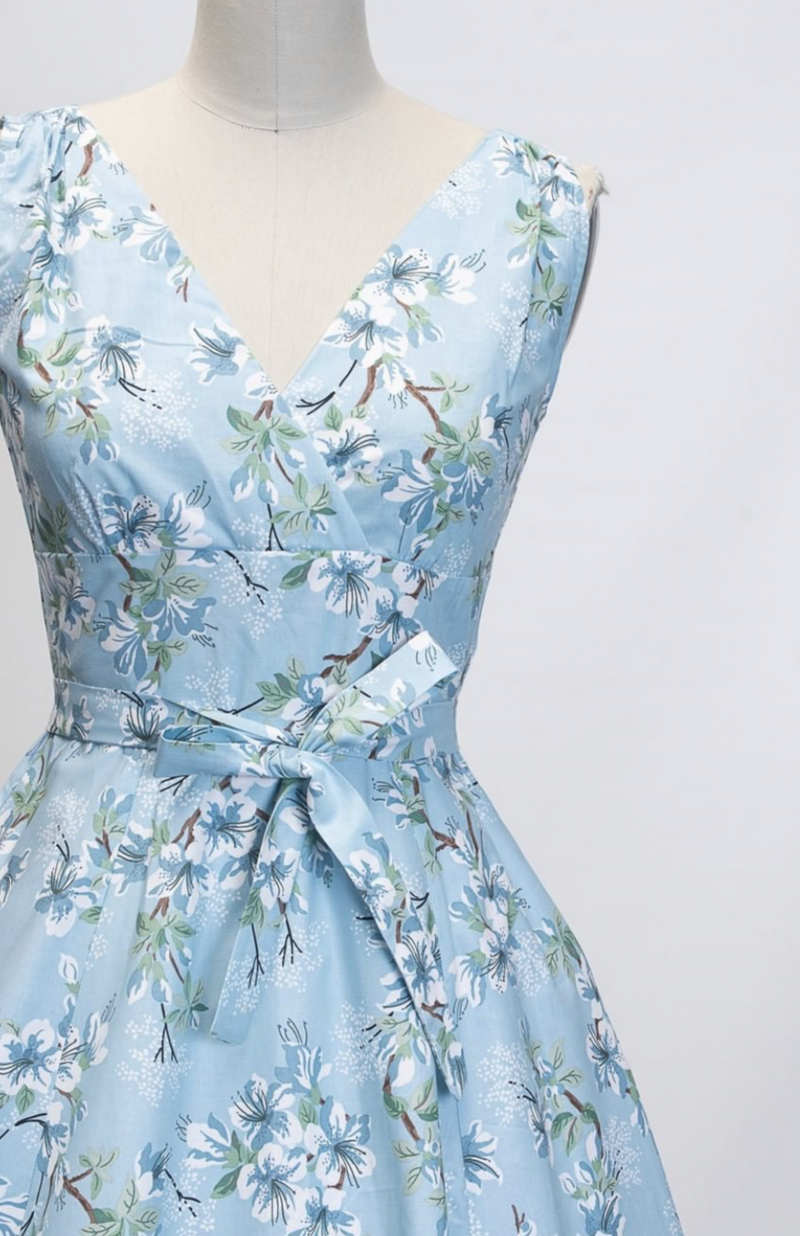 Marie Dress in Janelle Blue Floral By Heart of Haute