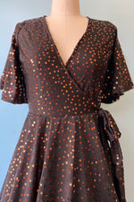 Aurora Wrap Dress in Copper Sequins by Wax Poetic