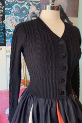 Black Wavy Knit Cardigan by Voodoo Vixen