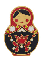 Red Matryoshka Memories Enamel Pin by Erstwilder
