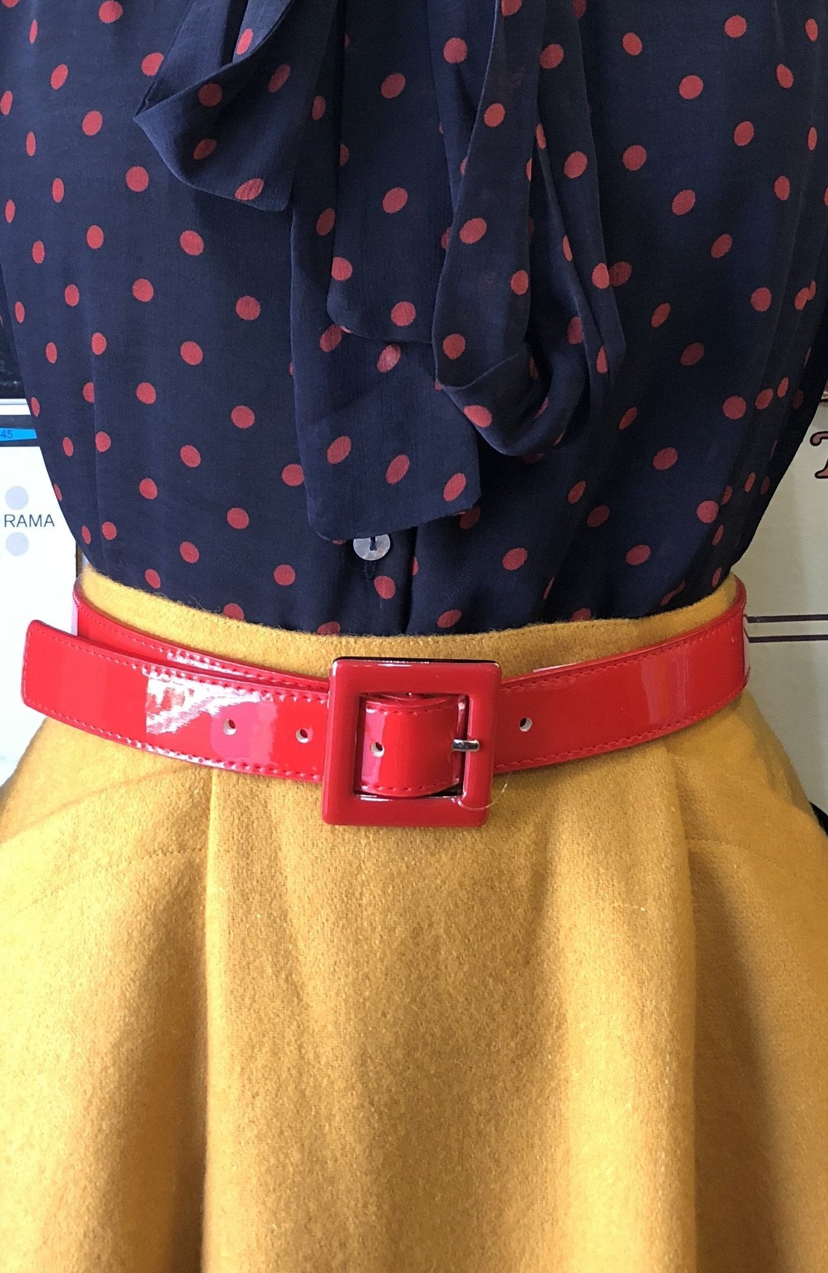 Patent Belt with Silver Buckle Detail in Red