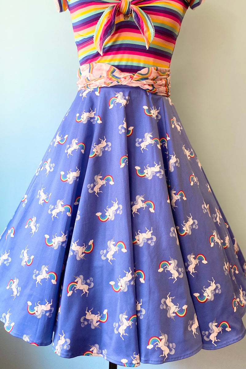 Unicorn Jumping Over the Rainbow Full Skirt by Eva Rose
