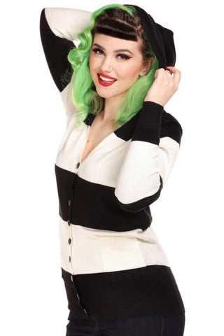 Candy Pugsley Stripe Cardigan Sweater by Collectif