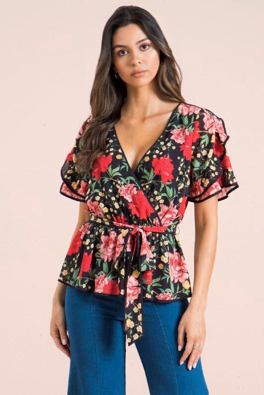 Ruffle Sleeve Floral Belted Blouse