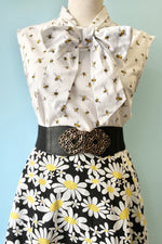 Black & White Daisy Print Skirt by Smak Parlour