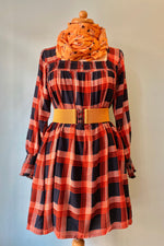 Orange Checked Babydoll Dress by Compania Fantastica