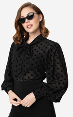 Black Swiss Dot Crepe Gwen Blouse