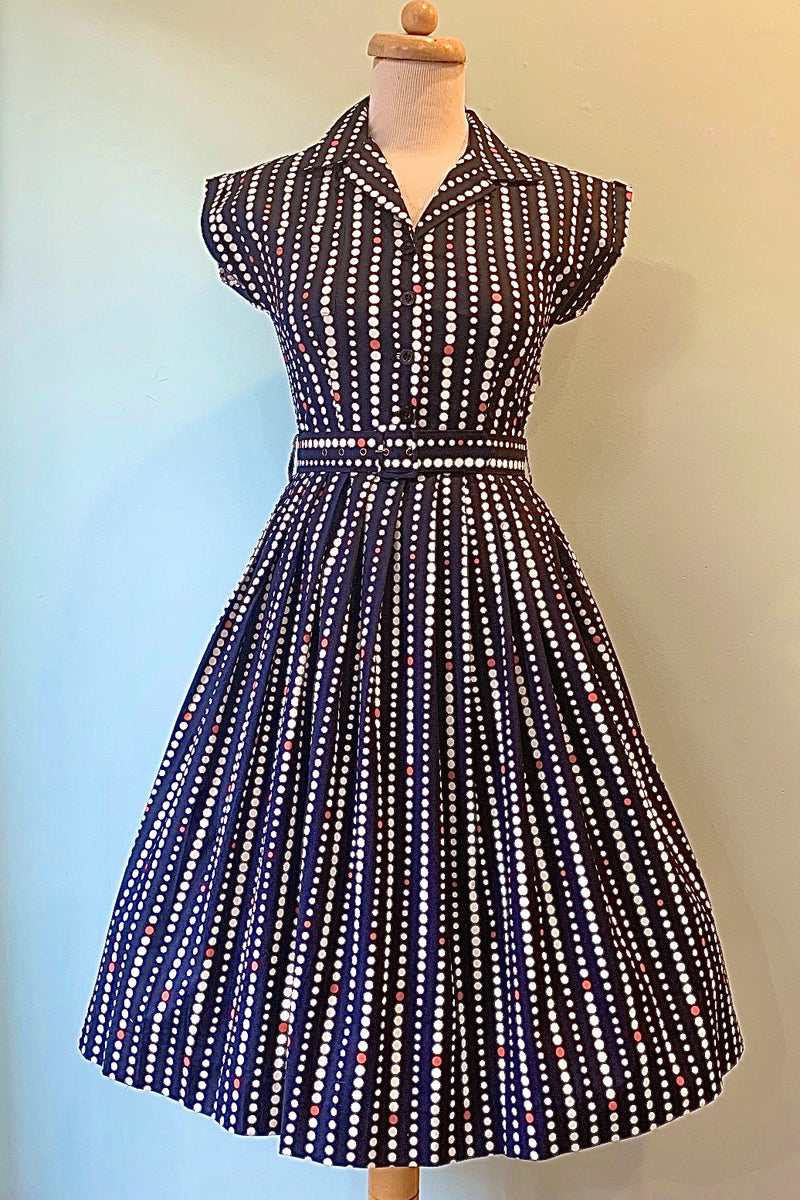 Connie Dress in Navy Spot Print by Retrospec'd