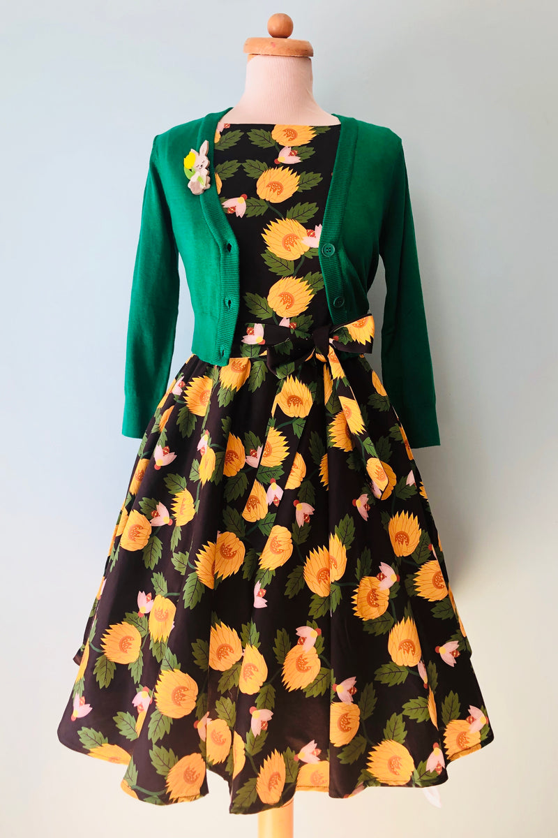 Ruby Sunflower and Bee Dress by Miss Lulo