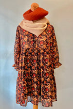 Floral Tiered Ruffle Sleeve Tunic