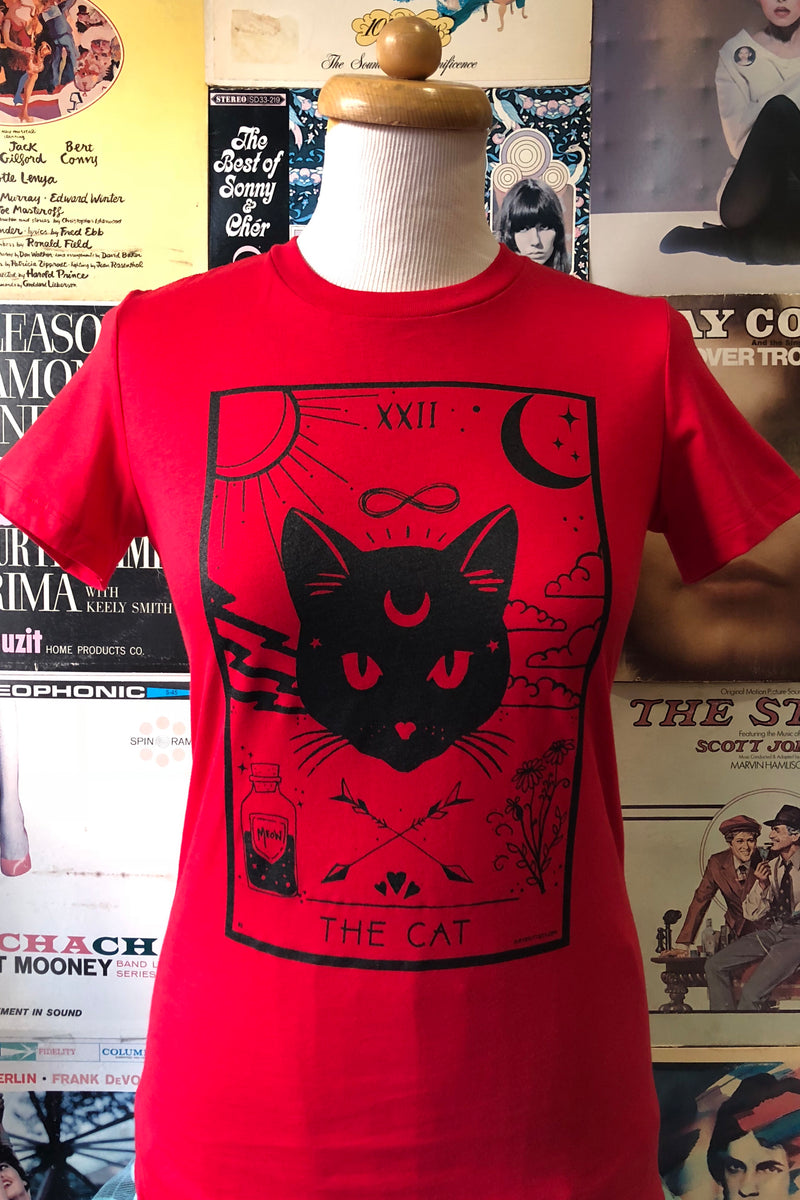 The CAT Tarot T-Shirt Top in Red by Kittees