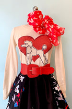 Poodle & Heart Pullover Sweater
