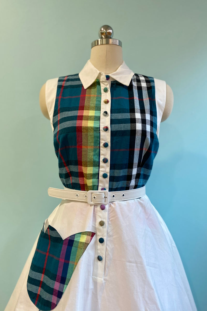 Ivory & Teal Rainbow Plaid Bethany Swing Dress