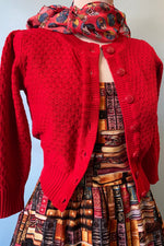 Red Crocheted Cotton Cardigan