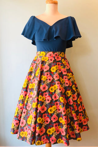 Pink Roses Floral Full Skirt by Tulip B.