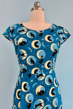 Teal Cat and Moon Print Dress