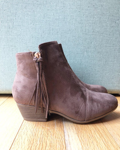 Dark Taupe Faux Suede Flick Low Bootie