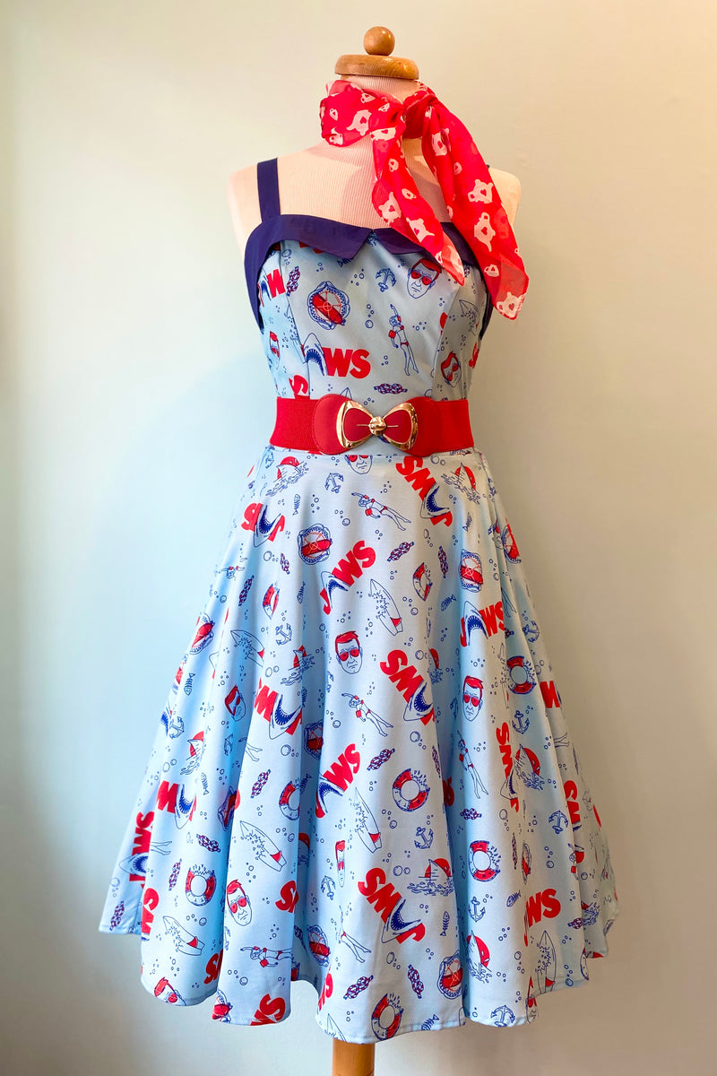 Jaws x Unique Vintage Jaws Icon Print Rachel Swing Dress