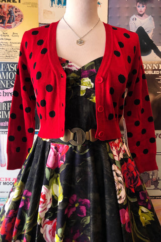 Red & Black Cropped Polka Dot Cardi
