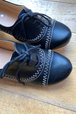 May Oxford Heels in Black Topstitch by Chelsea Crew
