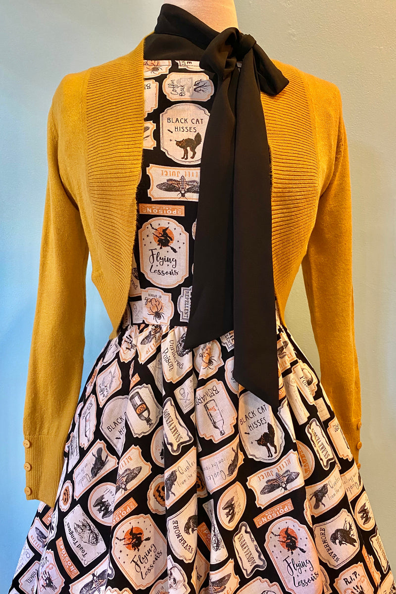 Mustard Jean Bolero Cropped Cardigan by Collectif