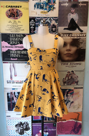Mustard Atomic Cat Tie-Back Mini Dress