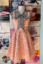 Corgi Print in Peach Tie-Back Dress by Ixia