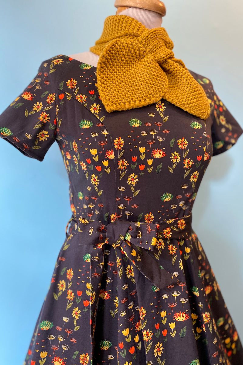 Bella Brown Hedgehog Autumn Floral Dress by Miss Lulo
