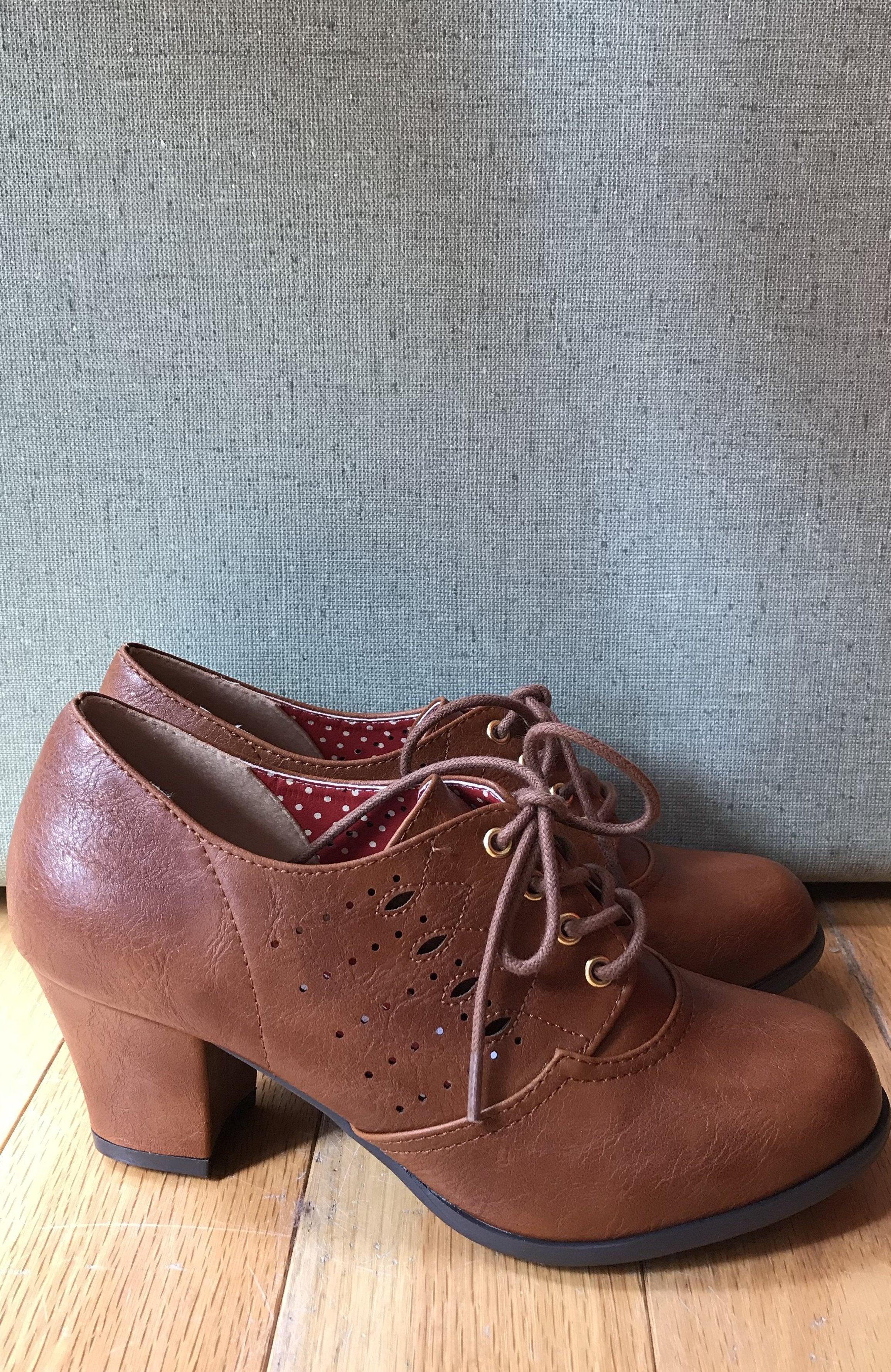 Rosie Lace-Up Heeled Oxford Shoes in Tan by B.A.I.T.