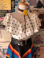 White with Black Polka Dots Frenchie Top by Unique Vintage