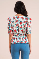 Red and Blue Floral Ruffle Top