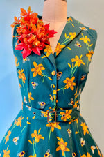 Jani Teal And Orange Fall Bee Dress by Miss Lulo