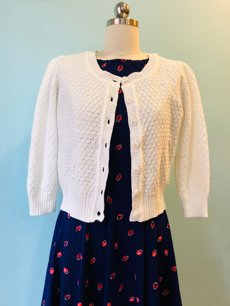 White Crocheted Cotton Cardigan