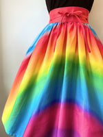 Rainbow Print High Waist Swing Skirt by Unique Vintage