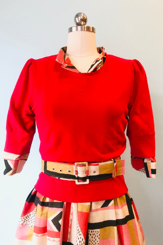 Red Fitted Cropped Sweatshirt by Blue Platypus