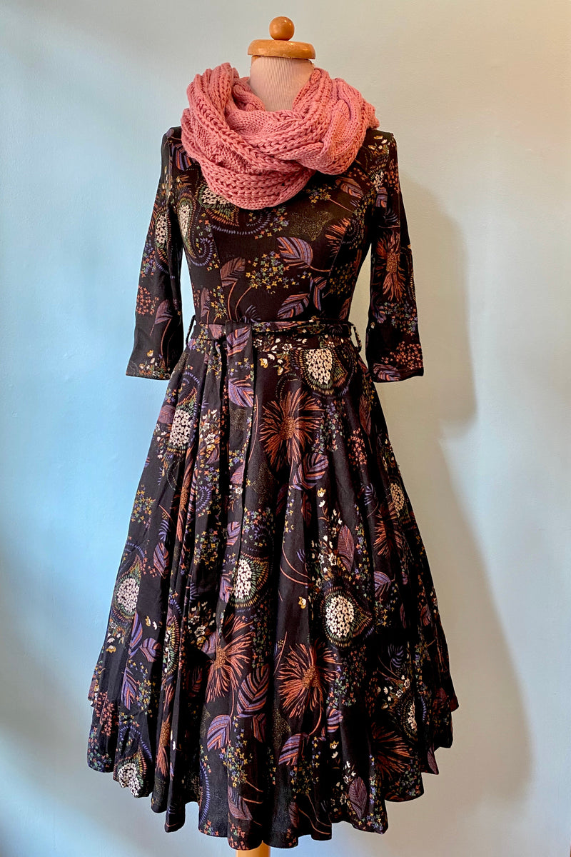 Black and Purple Autumn Leaf Knit Aria Dress by Miss Lulo