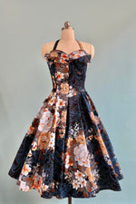 Navy Floral Orchard Swing Dress by Unique Vintage