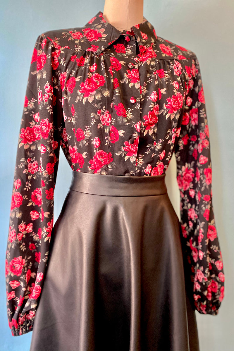 Black & Red Floral Francesca Blouse