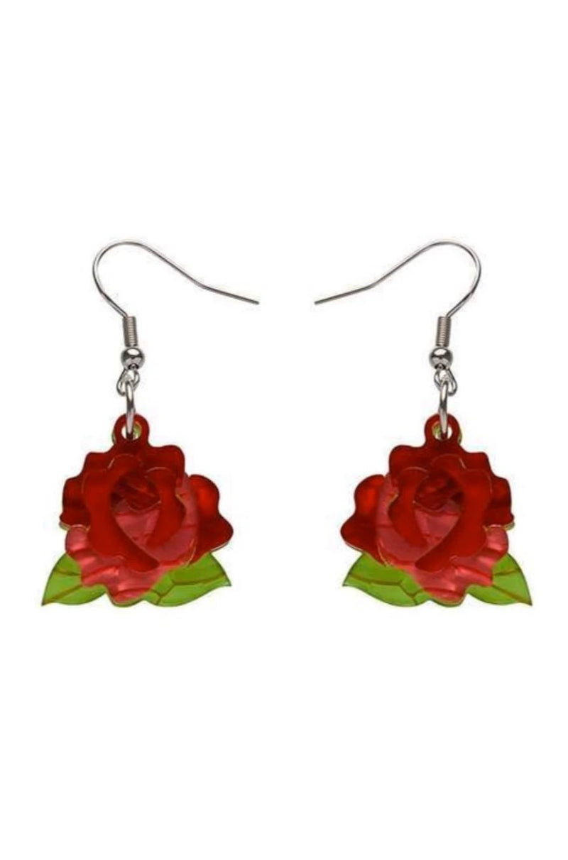 Budding Romance Rose Drop Earrings by Erstwilder
