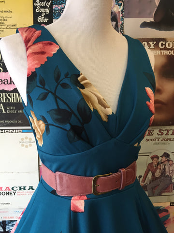 Pleated Bust Dress in Teal