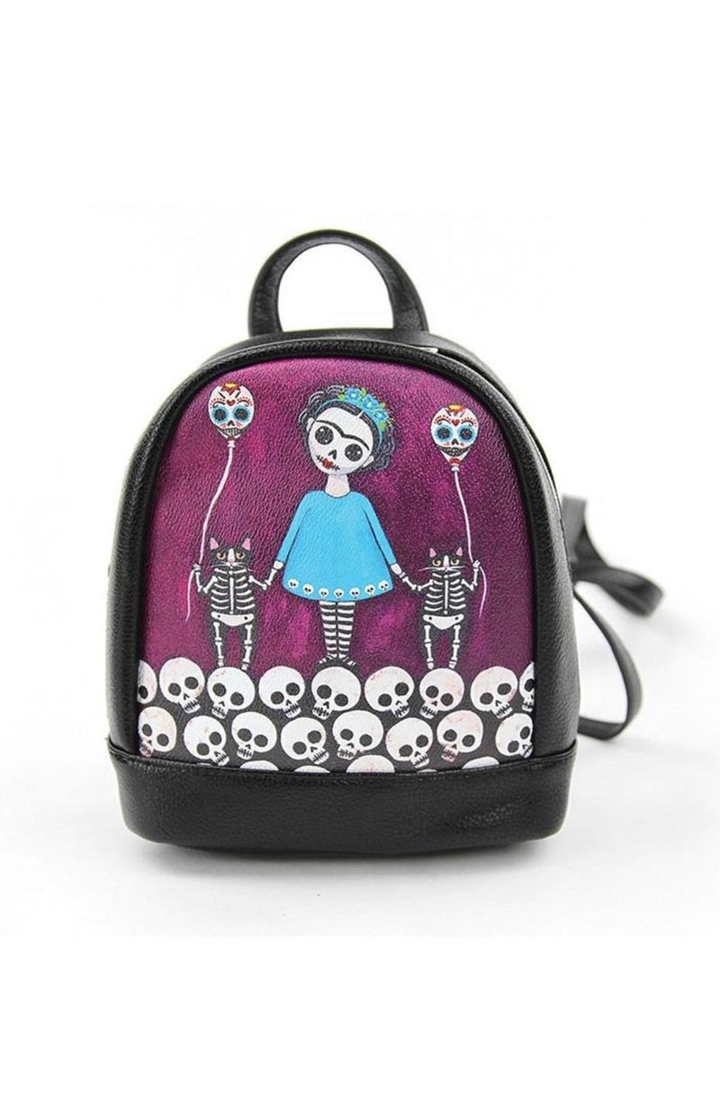 Sugar Skull Girl Backpack in Purple