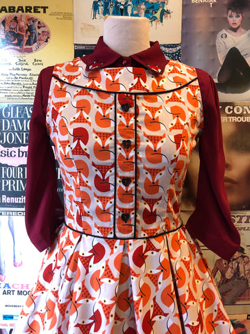 Orange Foxes Dress by Retrolicious