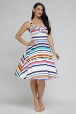Shellie Dress in Multi Stripe by Retrospec'd