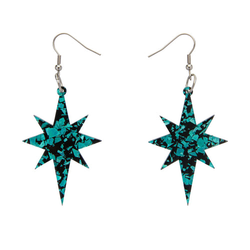 Teal Starburst Chunky Glitter Drop Earrings by Erstwilder