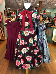 Pink and Eggplant Floral Crepe Dress by Eva Rose