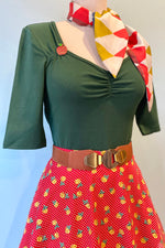 Dark Green Philippa Jersey Top by Hell Bunny
